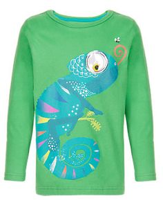 Green Pure Cotton Chameleon Print T-Shirt with Stickers