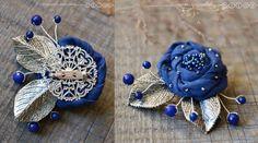 Купить Брошь из ткани «Синяя роза» - тёмно-синий, темно-синяя брошь