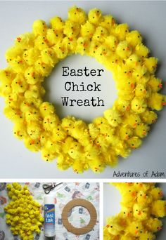Easter Chick Wreath Craft Idea for Kids! Use Bostik Fast Tac spray glue to create this cute DIY Easter Chick Wreath. It makes a great Easter decoration. Glue small Easter chicks to a round piece of cardboard for a cheap and easy activity that'll keep Easter Bunny, Easter Eggs, Easter Chick, Easter Dyi, Easter Ideas, Easter Gift, Easter Projects, Easter Crafts For Kids, Bunny Crafts