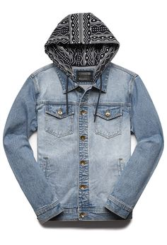 Tribal Print Hooded Denim Jacket | 21 MEN #DenimJacket #21Men #MustHave