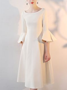 Cream Elegant Bell Sleeves Swing Midi Dress