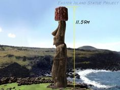 Film stills captured from a computer animation showing the 360° view of Moai Paro being re-erected onto its ahu. ©2002 EISP/JVT/Animation: A...