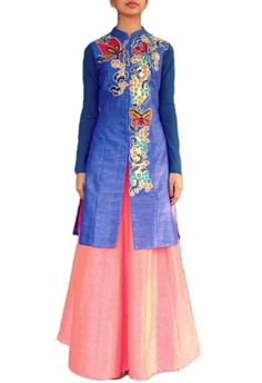 Royal blue butterfly jacket with pink lehenga