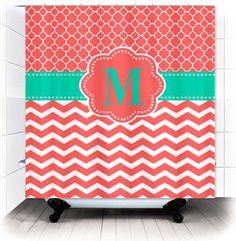 Coral Quatrefoil Chevron Monogram Fabric Shower by DesignsByManon