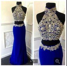Royal Blue Abendkleid Üppige Perlen Zwei Stück Stil prom Kleider Vestido De Festas Longo 2016 prom kleider(China (Mainland))