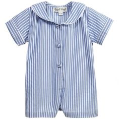 Pale Blue Striped Cotton Shortie, Powell Craft, Boy