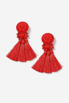 **Red Bead and Tassel Drop Earrings - Topshop USA