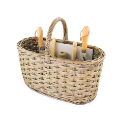Luxury willow garden tool basket featuring a trowel, fork, dibber, garden labels and jute string - in a handmade unpeeled and buff willow.