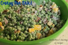 Creamy Pea Salad - wonderful for a potluck side dish #sidedish #recipe