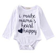 Newborn and Baby GirlWhite Cotton Long Sleeve Onesie, Mama's Heart