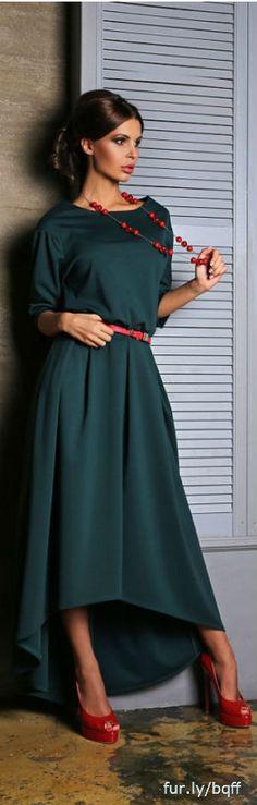 Green dress, asymmetrical dress