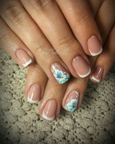 French manicure , blue flowers ,one stroke,  elegant ,simple nails