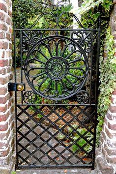 Garden Gates And Fencing, Garden Doors, Fence Gate, Arch Gate, Metal Gates, Wrought Iron Fences, Tor Design, Gate Design, Charleston Gardens