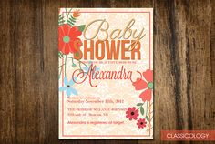 Flower Baby Shower Invitations  Printable Digital by Classicology, $15.00