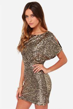 Gold Short Sleeve Split Back Sequined Dress - abaday.com