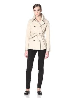 51% OFF Coffee Shop Apparel Women\'s Short Double-Breasted Trench (Khaki)