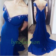 Beaded Crystals Prom Dresses, Royal Blue Formal Dresses, Party Dress ,Backless Prom Dresses Custom Made