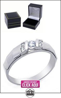 Pequeños Tesoros - Anillo de hombre - Anillo de compromiso y boda de oro 0.3ct Circonita Oro blanco  ✿ Joyas para hombres especiales - lujo ✿ ▬► Ver oferta: http://comprar.io/goto/B00BFX88S2