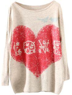 Apricot Round Neck Love Heart Print Loose Sweater - Sheinside.com