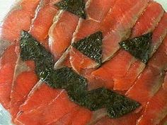 Salmon Sushi Cake for Halloween Recipe by cookpad. How To Make Sushi, How To Make Cake, Kinds Of Sushi, Sushi Cake, Nori Seaweed, Salmon Sushi, Cake Tins, Smoked Salmon