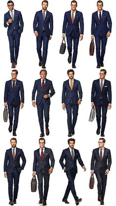 Navy blue suit but a different way to wear it everyday of the week Style Gentleman, Blue Suit Men, Blue Suits, Navy Blue Suit Outfit, Interview Suits, Job Interview Outfit Men, Business Mode, Business Suits Men, Business Casual