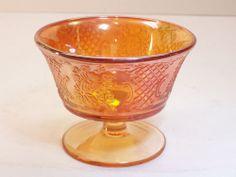 Vintage Federal Carnival Glass Normandie Bouquet & Lattice Marigold Sherbet Cup