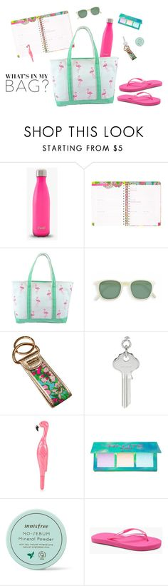 """What's in My Bag?"" by theluckyknot ❤ liked on Polyvore featuring Lilly Pulitzer, Ribeyron, Lime Crime, Innisfree and Boohoo"