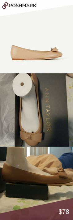 """Talia Bow Leather Ballet Flats Luxury leather flats with an elegant bow topper. Has a round toe and a nice padded foot bed for complete comfort. Has a 1/4"""" heel. Material is butta nappa. Imported. Color is camel. Ann Taylor Shoes Flats & Loafers"""