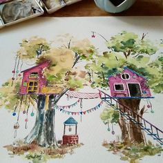 Squeezing in some time for commissions before the weekend hustle. Watercolor Barns, Watercolor Landscape Paintings, Watercolour Painting, Pencil Illustration, Watercolor Illustration, Galaxy Phone Wallpaper, Copic Drawings, Watercolor Pictures, Whimsical Art