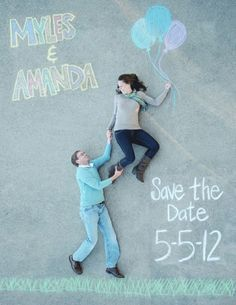 This adorable save-the-date perspective shot using chalk drawings on cement is a whimsical way to trumpet your wedding date.     Image via  The Berry .