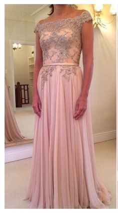 Pearl Pink Long Prom Dresses With Beaded Off Shoulder Evening Dress,Charming High Quality Cheap Prom Gowns Graduation Dress,Wedding Party Dresses