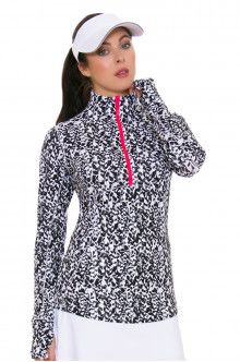 Annika Women's Trellis Izaria Print Half-Zip Golf Long Sleeve Top