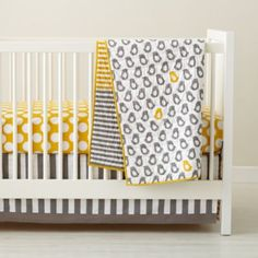 Not a Peep Crib Bedding from Land of Nod- I LOVE THIS.  I love grey and yellow!  Yes, this is for a baby that IS mine.