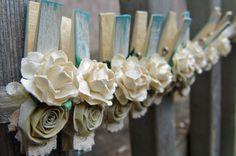 Shabby Chic Wedding Ivory and Cottage blue decorative por ilovethis. , via Etsy.
