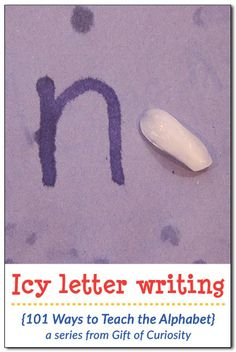 Icy letter writing alphabet activity - awesome idea to combine tactile experience with writing! Super simple to prepare for a hot summer day! Preschool Writing, Preschool Letters, Alphabet Activities, Early Literacy, Literacy Activities, Kids Letters, Preschool Kindergarten, Letter Writing For Kids, Writing Alphabet Letters