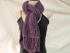 cachecol de trico com franjas