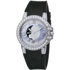 Harry Winston Ocean Lady Moon Phase 36mm oceqmp36ww002 Watch (520.347.545 IDR) ❤ liked on Polyvore featuring jewelry, watches, white gold jewelry, white gold watches, dial watches, bezel watches and harry winston jewelry