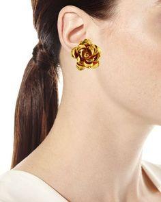 Y3YAM Jose & Maria Barrera Golden Flower Button Clip-On Earrings
