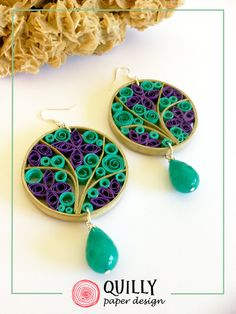Paper earrings Arabesco_10 by quillypaperdesign. Follow me on facebook quillypaperdesign.