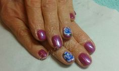 CND Shellac Rockstars Magenta Mischief with Sizzling Sand glitter and hand painted one stroke roses