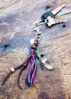 Hibiscus Tassel Keychain w/ Crystal by SoulMakes