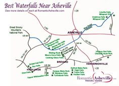 Waterfall Drives & Maps for Asheville & NC Mountains Western North Carolina Waterfall Map Asheville North Carolina, Western North Carolina, North Carolina Mountains, North Carolina Homes, Highlands North Carolina, Asheville Waterfalls, Nc Waterfalls, North Carolina Waterfalls, Charlotte Nc