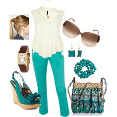 Turq & Creme, created by lulaf25 on Polyvore