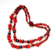 CIJ SALE Vintage Necklace Bold Red Raspberry Multistrand Plastic Beads 1960's