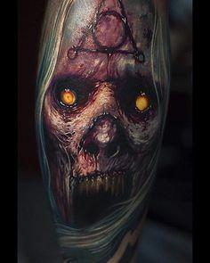 Evil Tattoos, Horror Tattoos, Skull Tattoos, Body Art Tattoos, New Tattoos, Shoulder Armor Tattoo, Demon Tattoo, Halloween Artwork, Horror Artwork