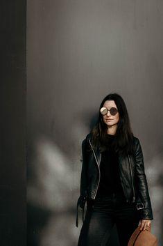 Capturing the moment. photo by Eyewear Trends, Sunnies, Sunglasses, Eye Glasses, Bomber Jacket, Leather Jacket, Jackets, Photography, Fashion Design