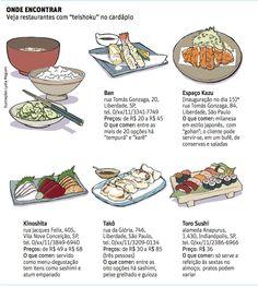 Teishoku na Folha de SP, almoço tradicional japonês, bentô, tempurá, kinoshita, mitsuyoshi, wara, yakitori mizusaka, camarão empanado, anchova, salmão grelhado.