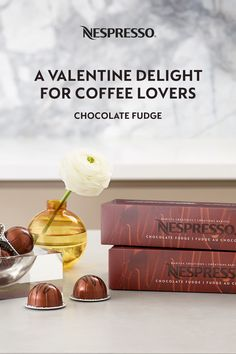 Treat them (or yourself!) to a delicious box of chocolates this Valentine's Day — a sleeve of our Chocolate Fudge coffee capsules. Round and smooth, this coffee has an elegant dark chocolate flavor with notes of biscuit. It's great on its own or brewed in a Nespresso recipe. Chocolate Fudge for Vertuo is the perfect afternoon treat, any day of the year. Nespresso Recipes, Nespresso Usa, Chocolate Fudge, Chocolate Flavors, Nespresso Boutique, Fudge Flavors, Home Coffee Stations, Coffee Pods, Barista
