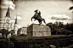 ~Andrew Jackson on his horse, in his square~ Jackson Square, also known as Place d'Armes, is a historic park in the French Quarter of New Orleans, Louisiana. Louis Cathedral is in the background Louisiana History, Jackson Square, Andrew Jackson, French Quarter, St Louis, Wonders Of The World, Statue Of Liberty, New Orleans, Cathedral