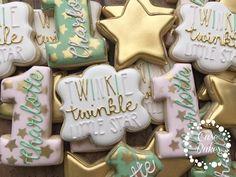 Twinkle Twinkle Little Star 1st birthday cookies Pink gold &